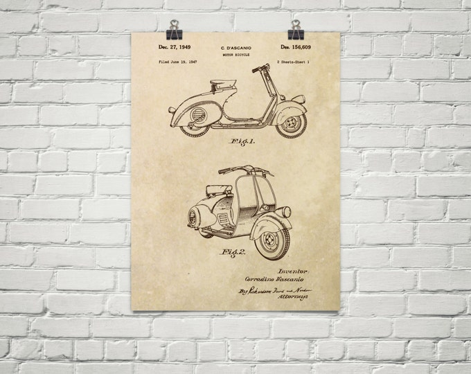 KillerBeeMoto: Duplicate of Original U.S. Patent Drawing For Vintage Scooter