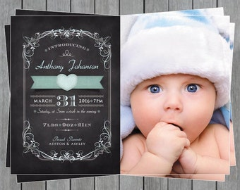 Baby Announcement Card - Baby Boy - New Born Announcement Card - Birth Announcement Card - Chalkboard Baby Announcement Card