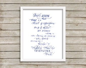 Doctor Who Quote Prints, Big Ball of Timey Wimey Stuff, David Tennant Quote, Geek Calligraphy, Blue Wall Art, Doctor Who Fan Gift