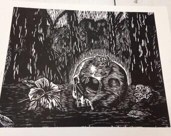 Skull and Coqui frog on a landscape woodcut prints grabado
