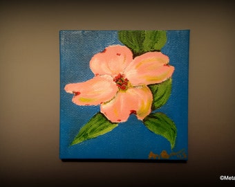 """Small Pink Dogwood Original Painting by Amy Brandum, 4""""x4"""",acrylic, original, nature, wall art, painting on canvas, flower,tree,floral"""