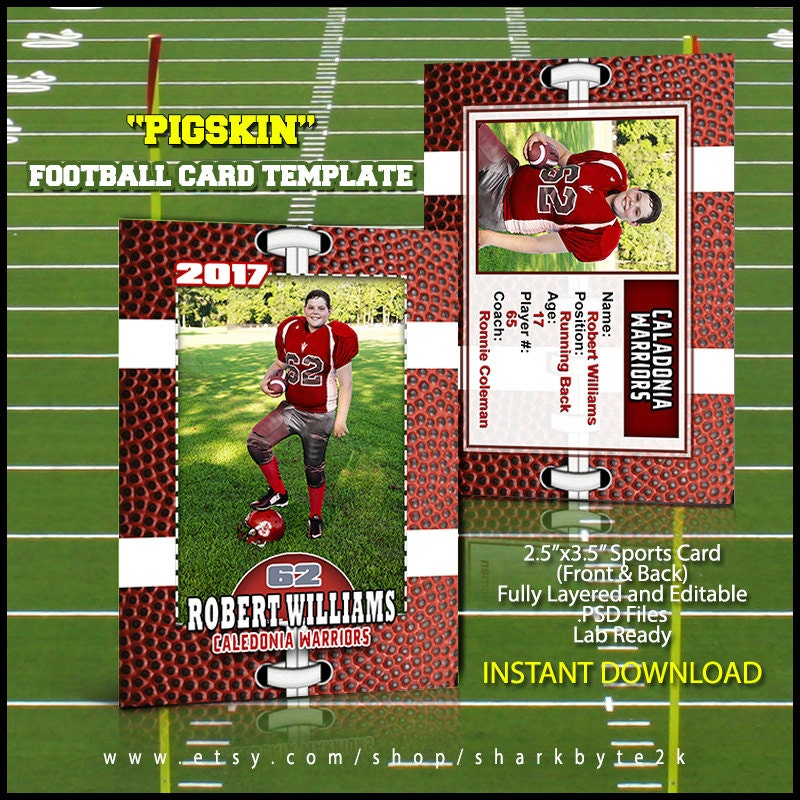 photoshop football card template great for sports team and