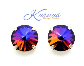 CRYSTAL VOLCANO 14mm Crystal Rivoli Stud Earrings Swarovski Elements *Rhodium or Antique Silver *Karnas Design Studio *Free Shipping