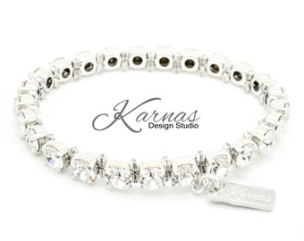 CRYSTAL CLEAR 29ss Chaton Dainty Stretch and Accent Bracelet *Pick Your Finish *Karnas Design Studio *Free Shipping
