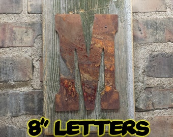 Large Corrugated Metal Letters Rusty Tin Letters Free Shipping Monogram Rustic Letter