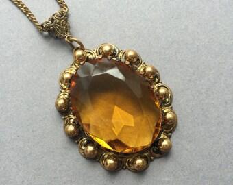 Large 1940's Amber Glass Filigree Pendant