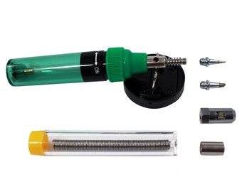 Portable Mini  Soldering Iron and Torch 7 Piece Butane Precision Tip Set