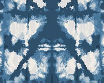 Indigo Blue Shibori Organic Fabric - By The Yard - Boy / Girl / Gender Neutral
