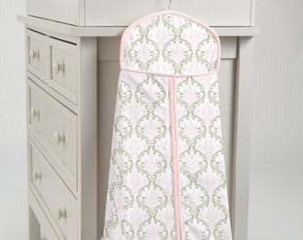 Carousel Designs Pink and Taupe Damask Diaper Stacker