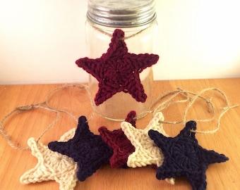 Primitive/Americana Set of 6 Star Ornaments (Patriotic, 4th of July, Christmas)