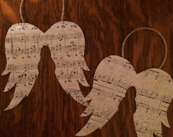 2 Vintage music angel wings Christmas ornament/gift tag with German Glass Glitter