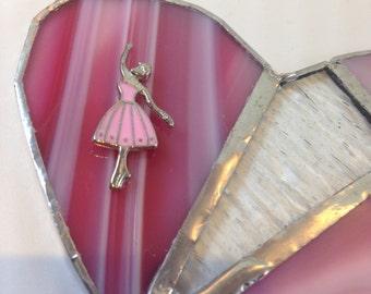 Stained glass heart ballet dancer