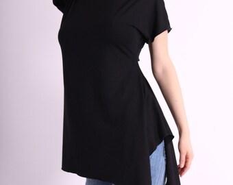 Tunic / Black blouse / asymmetrical long tunic / short sleeves top by UrbanMood - CO-HANA2-VL