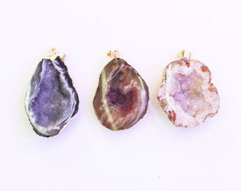 Druzy Pendants -- With Electroplated Gold Edge Druzzy Drusy Geode Charms Wholesale Supplies Handmade YHA-027