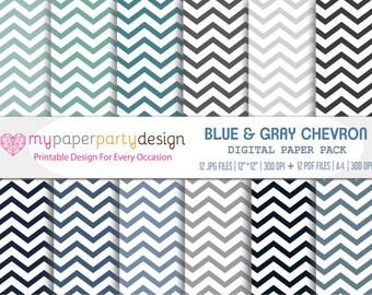 Blue & Gray Chevron Digital Paper Pack - Printable Geometric Chevron Patterns for Prints, Cards, Scrapbook, Invitations, Stationery