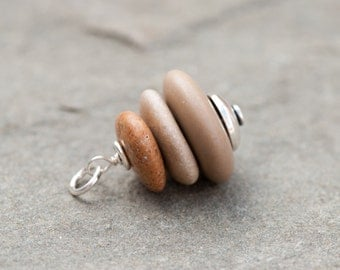 Cairn Stone Pendant, Drilled Beach Stones, Stacked Beach Pebble Necklace, Cairn Beach Stone Pendant, Sterling Silver, Zen Necklace