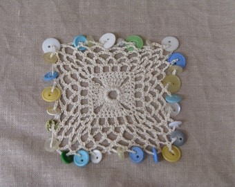 Square Crocheted Bowl/cup/milk jug cover with Vintage buttons