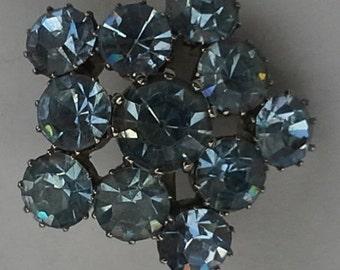 vintage blue rhinestones, silver tone brooch/pin made Austria