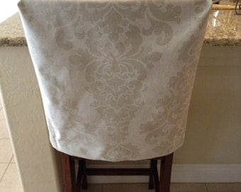 Natural Linen Fitted Chair Back Cover Premier Prints Berlin Cloud Fabric Kitchen
