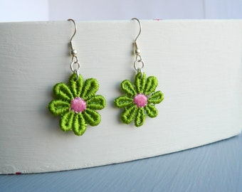 Handmade Daisy Lace Silver Plated Earrings