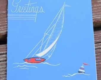 UNUSED Vintage Christmas Greeting Card Sailboat Nautical 1940s