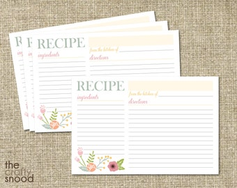 Floral Recipe Card Printable - Digital File
