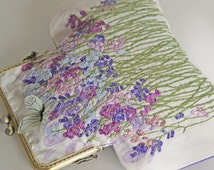 Silk ribbon Embroidery Purse Bag Lavender Sachets Flower GardenHand embroidered accessory ribbon purse flowers vintage floral needlework bag
