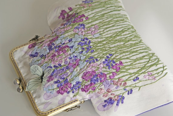 Silk ribbon embroidery purse bag lavender sachets flower