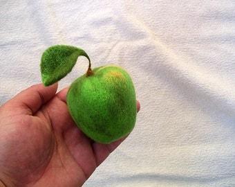 Felt apple, green apple, needle felted fruit, 7cm