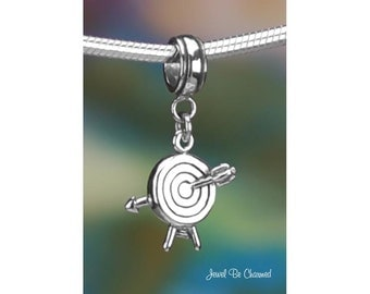 Sterling Silver Archery Target Charm or European Style Charm Bracelet