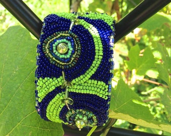 Navy Blue and Lime Green Bead Embroidered Cuff Bracelet