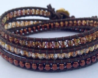 Shades of Brown Beaded Bohemian Wrap Bracelet With Gold Flower Button Clasp