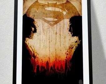 Batman v Superman: minimalist poster, homage to DC Comic/Warner Bros. Movie