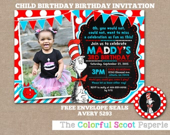 Dr Seuss Photo Birthday Invitation, Dr Seuss Photo Card Invite, Dr Seuss Invitation, Cat in the Hat Invitation (#418)