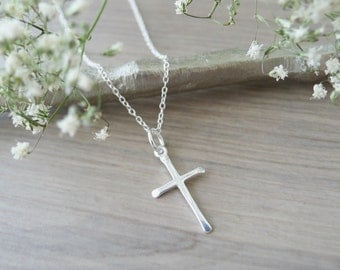 Sterling Silver Cross Necklace, Small Cross, Simple Cross, Religious Necklace, Christian Jewelry, Baptism Gift, Minimalist Cross Thin Cross