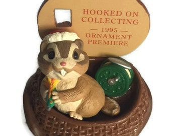 Vintage Hallmark Ornament - 1995 - Christmas Chipmunk - Hooked on Collecting - Vintage Ornament - Stocking Stuffer - Collectible
