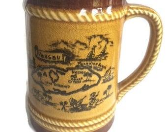 Vintage Nassau Bahamas Tankard-Souvenir Mug-Brown-Island of New Providence-Decorative Tankard-Decorative Mug-Collectible Mug-VintageBarDecor