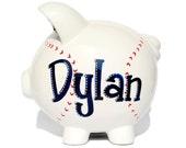 "Baseball Hand Painted & Personalized Piggy Bank - Large Size (8"" X 7.5"" X 7"")"