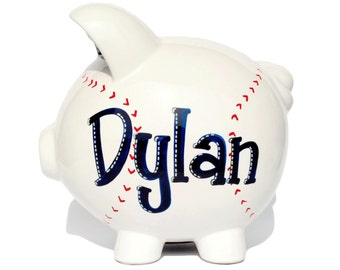 "Baseball Hand Painted & Personalized Piggy Bank | Sports Bank for Boys | Navy Blue | Red | Large Size (8""x7.5""x7"")"