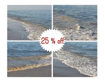 Nautical wall art prints, ocean photography, aqua blue sea coastal wall art set 4 11x14 shoreline prints sea pictures, beach bedroom decor