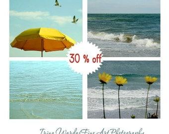 Coastal wall art, ocean photography prints, gold yellow mint teal beach cottage decor, nautical print set of 4 11x14 sea seascape pictures