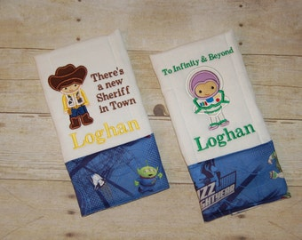 Toy Story Woody and Buzz Lightyear burp cloths Customized with a name