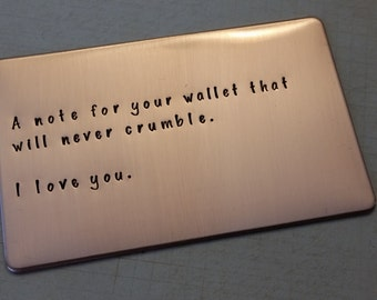 Love note, Copper Wallet Insert, 7th anniversary gift