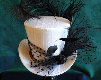 Kentucky Derby Mini Top Hat,Bridal Black and White Burlesque Mini Top Hat, Gothic Mini Top Hat,Tea-party Hat-Custom-Made to Order