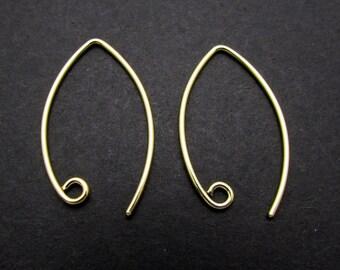 2 Pcs, 24K Gold Vermeil Ear Wire