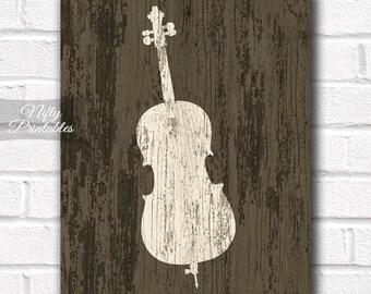 Cello Print - Rustic Cello Art - PRINTABLE Cello Poster Print - 8x10 Music Wall Art - Cello Gifts - INSTANT DOWNLOAD Poster Decor