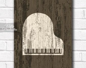 Piano Wall Art - Piano Print - INSTANT DOWNLOAD Rustic Piano Poster - Music Wall Art - Piano Gifts - Music Decor - Piano Decor - Music Gifts