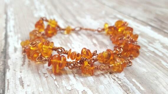 Baltic Amber Chip Bracelet - Light Amber Bracelet - Multi Strand Bracelet - Copper Wire Wrapped Bracelet - Gemstone Chip Bracelet