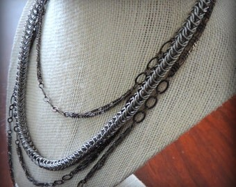 Silver and Pewter multi strand necklace