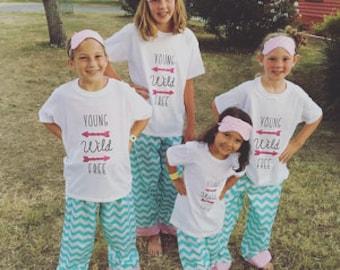 Slumber party pajama pants/girls party pajamas/birthday party pajamas/birthday party/matching girls pajamas/girls matching pajamas